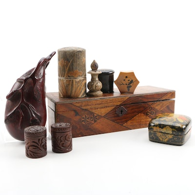 Indian Handmade Lacquered Box, Vantine's Wooden Perfume Box, and Others