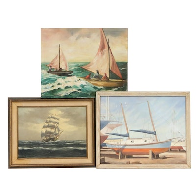Nautical Oil Paintings, Mid 20th Century