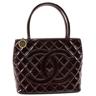 Chanel CC Medallion Tote Bag in Dark Burgundy Quilted Patent Leather