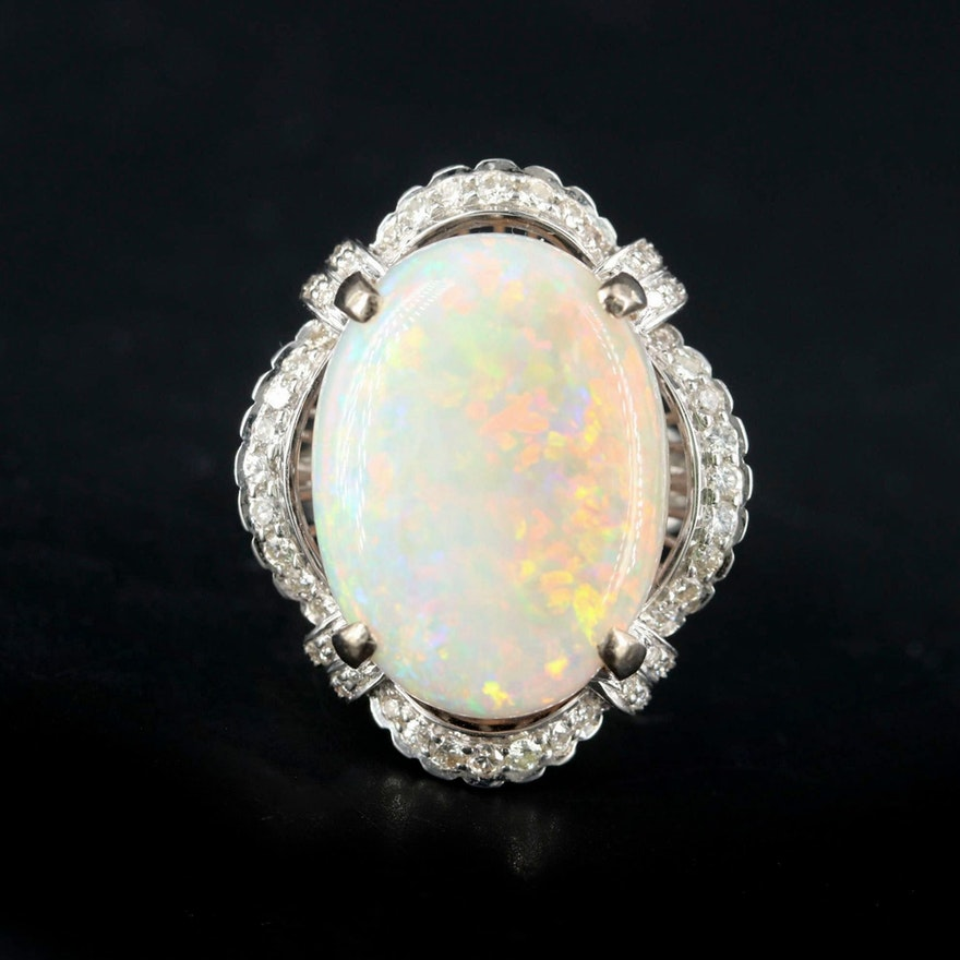 18K White Gold 11.70 CT Opal and Diamond Ring