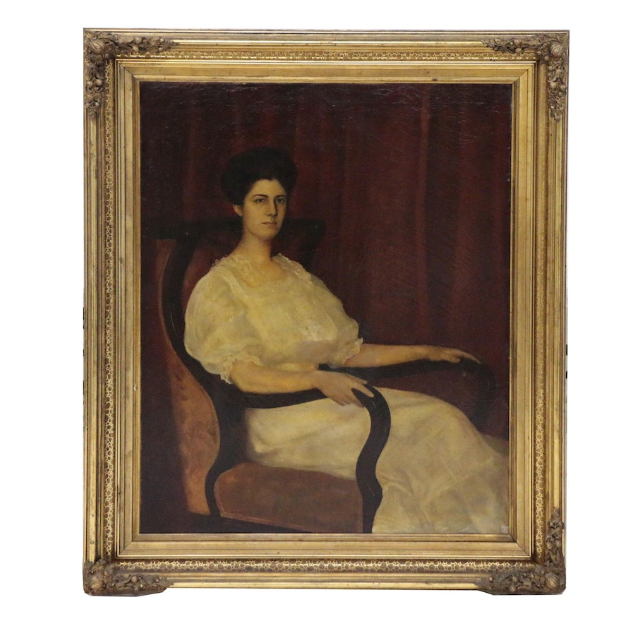 Samuel Calvin Monumental Oil Portrait of Seated Woman, Early 20th Century