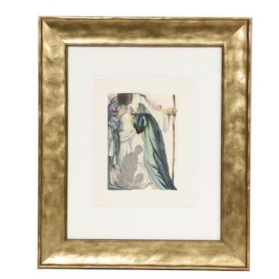 "Salvador Dalí Wood Engraving ""Purgatory Canto 14: A Spirit Questions Dante"""