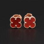 """Van Cleef & Arpels """"Sweet Alhambra"""" 18K Rose Gold Carnelian Earrings"""