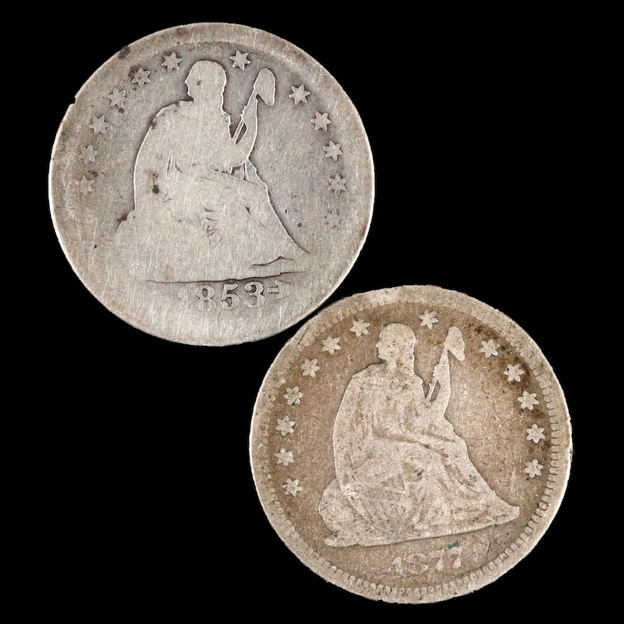 Two Seated Liberty Silver Quarters