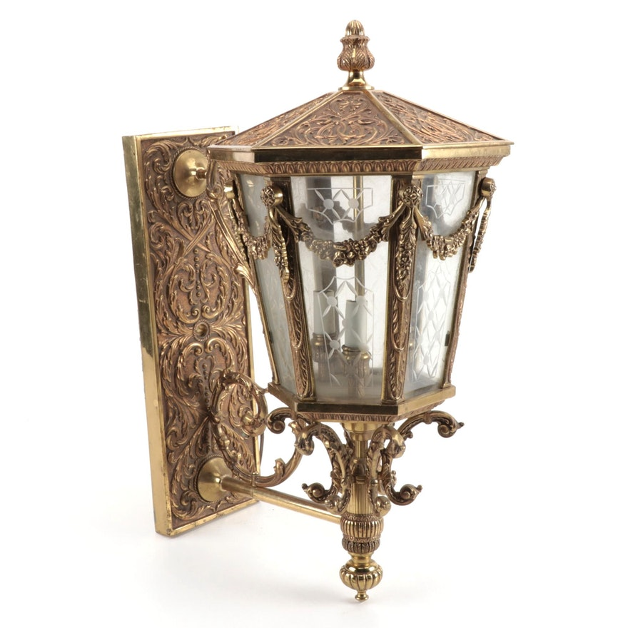The Feldman Company Louis VXI Style Brass Lantern Sconce, Mid-20th Century