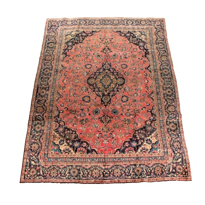 7'4 x 10'2 Hand-Knotted Persian Mashhad Wool Rug
