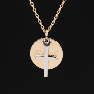 """14K Yellow Gold Necklace with Cross and """"Faith"""" Pendants"""