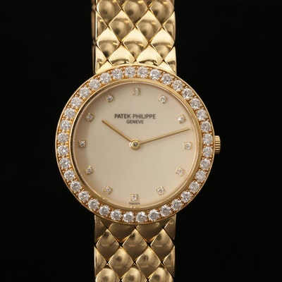 Patek Philippe Caltrava 4820 18K Gold and Diamonds Quartz Wristwatch, Circa 2005