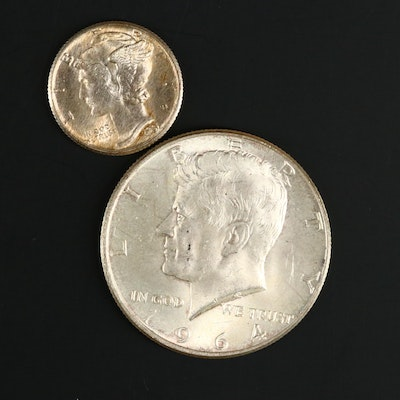 "1964 JFK Half Dollar with Double Die ""We Trust"" on the Obverse"