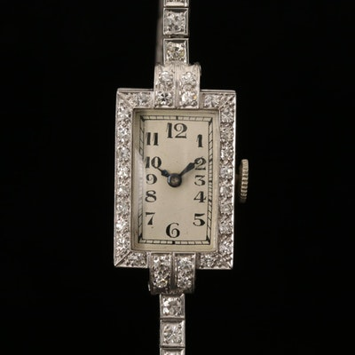 Platinum and 1.80 CTW Diamond Movado Wristwatch, Antique