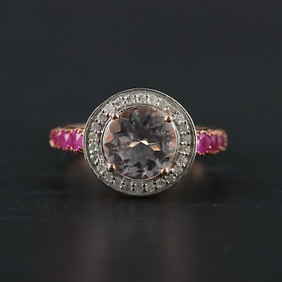 14K Rose Gold Morganite, Ruby and Diamond Ring