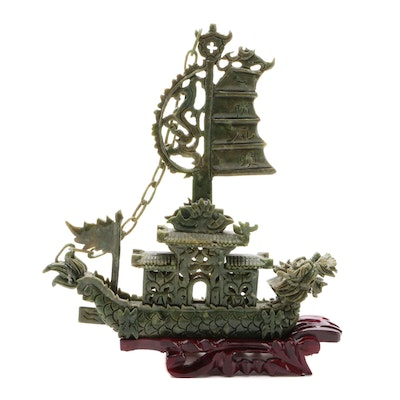 Chinese Serpentine Dragon Boat Carving with Wooden Base