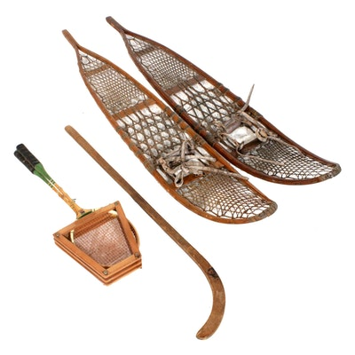Bentley-Wilson Snowshoes with Badminton Racquets and Hockey Stick, Vintage
