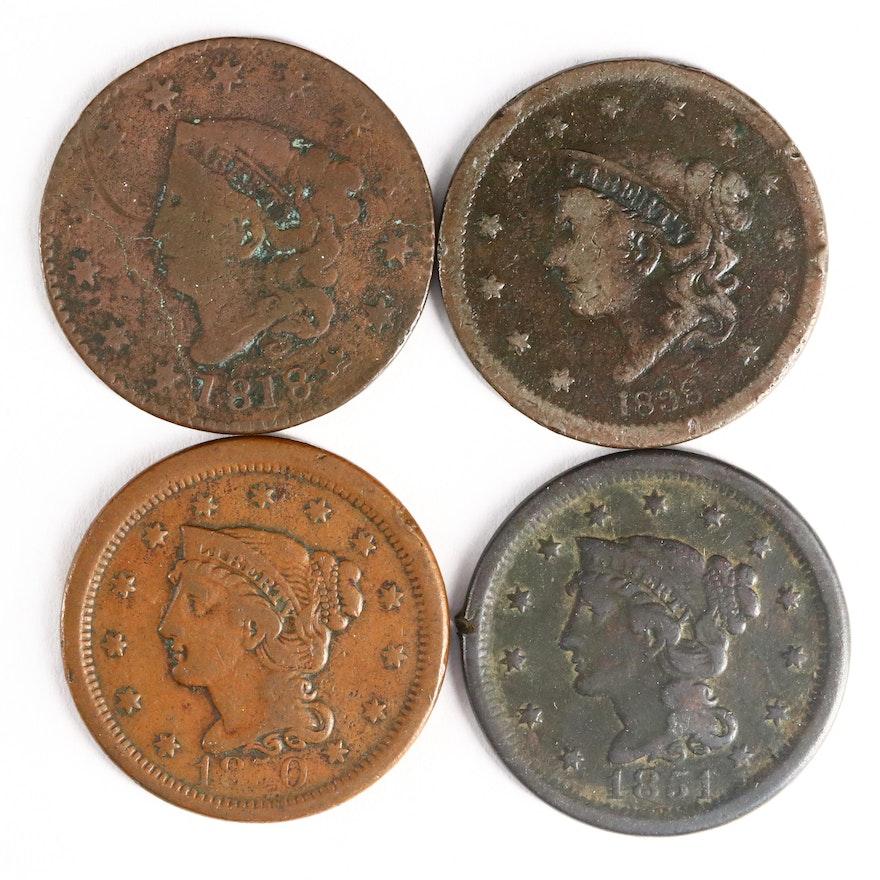 Four U.S. Large Cent Coins