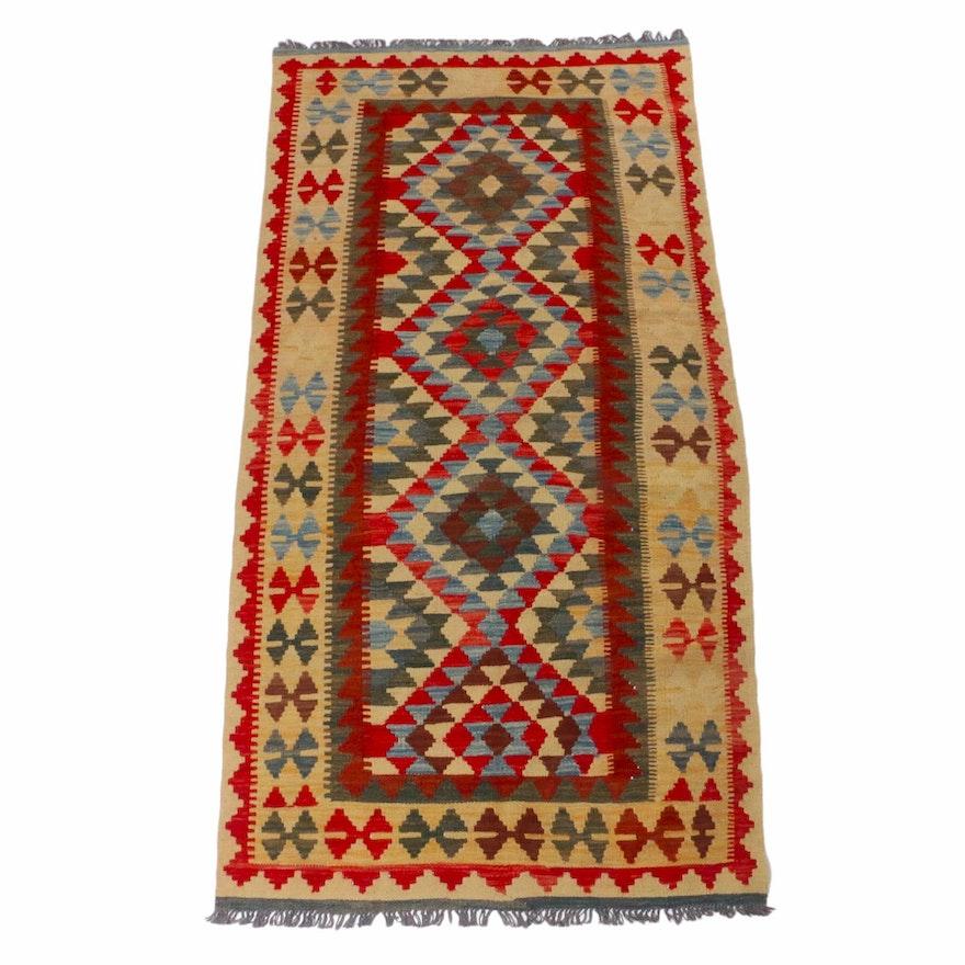 3'5 x 6'11 Handwoven Turkish Kashkuli Style Kilim Rug