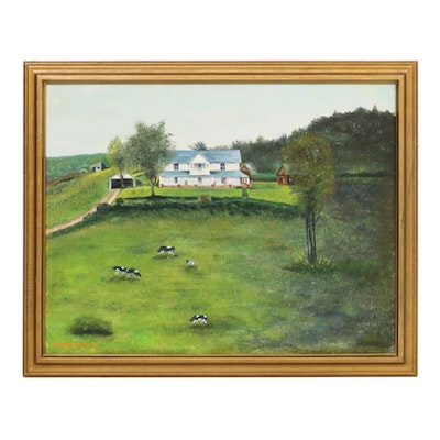 """Ray Forrester Landscape Oil Painting """"The Wily Wilson House,"""" 1981"""