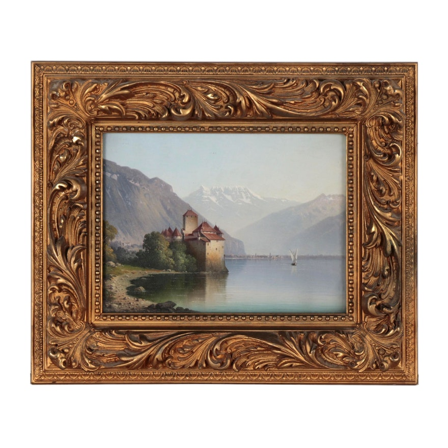 Oil Painting of Château de Chillon, Early 20th Century