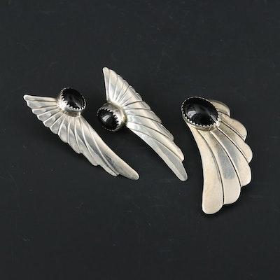 Harris Joe Navajo Diné Sterling Silver Black Onyx Converter Brooch and Earrings
