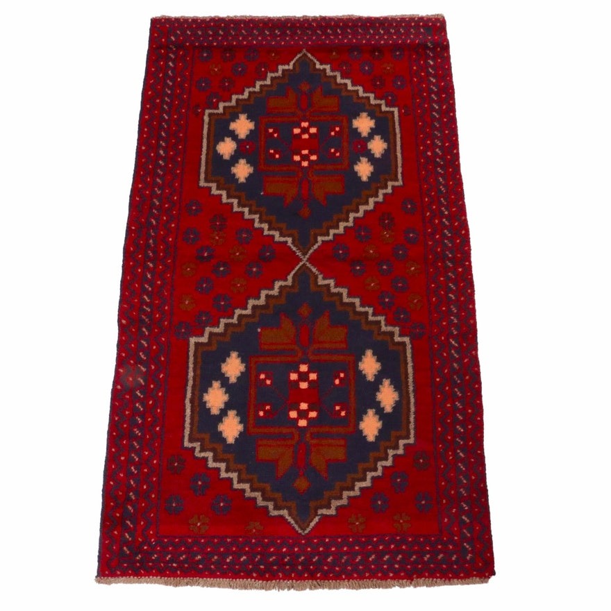 3'6 x 6'4 Hand-Knotted Afghani Baluch Rug