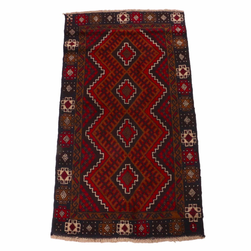 3'6 x 6'5 Hand-Knotted Afghani Baluch Rug