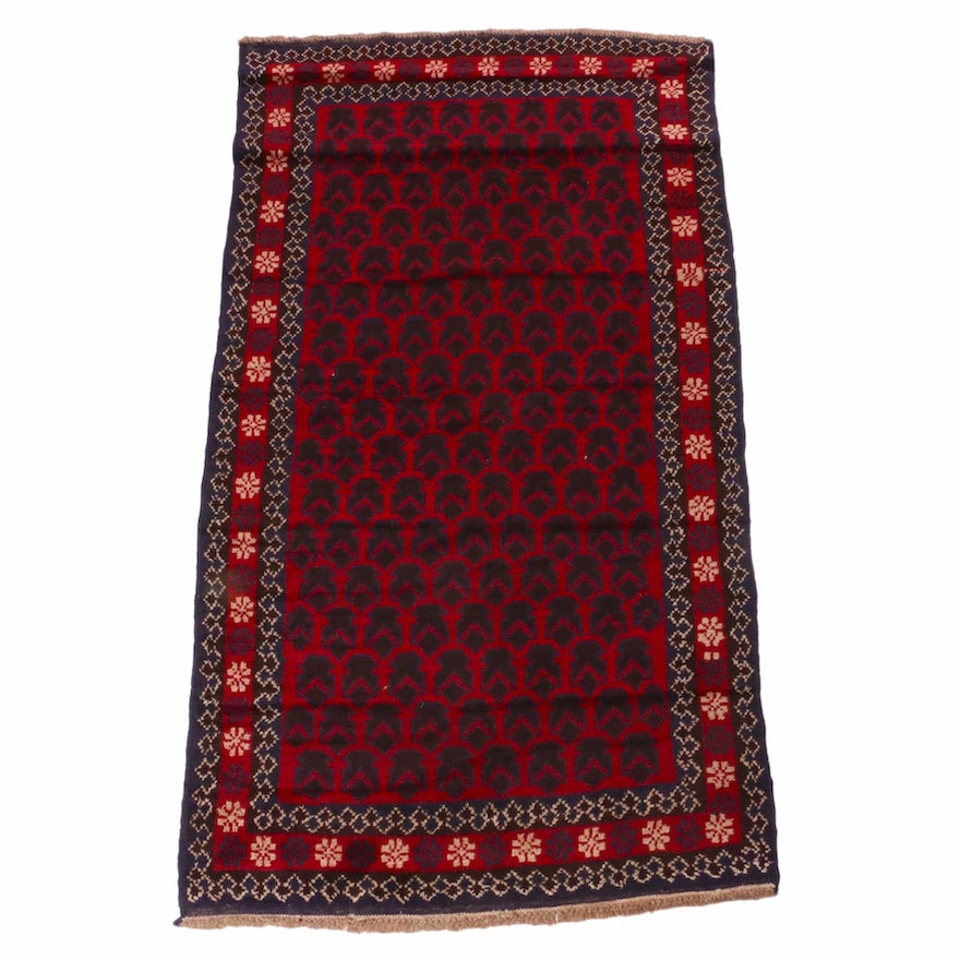 3'4 x 6'1 Hand-Knotted Afghani Baluch Rug