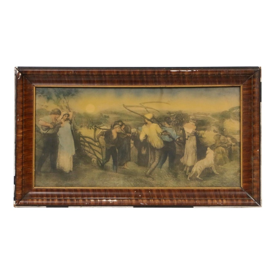 Hand-Colored Lithograph of Peasant Farmers, Late 19th/Early 20th Century