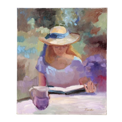 Sally Rosenbaum Figure Oil Painting of Woman Reading