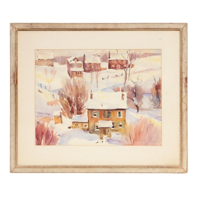"Lawrence Nelson Wilbur Watercolor Painting ""Snow Bound,"" 1938"