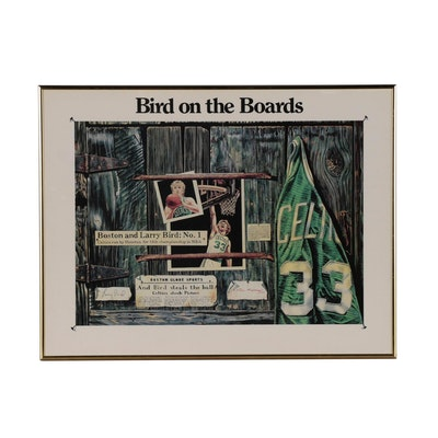 "Larry Bird Boston Celtics ""Bird on the Boards"" Framed Basketball Print, 1987"