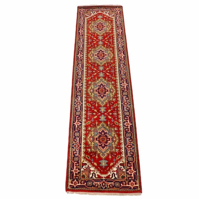 2'6 x 10'2 Hand-Knotted Indo-Persian Heriz Runner