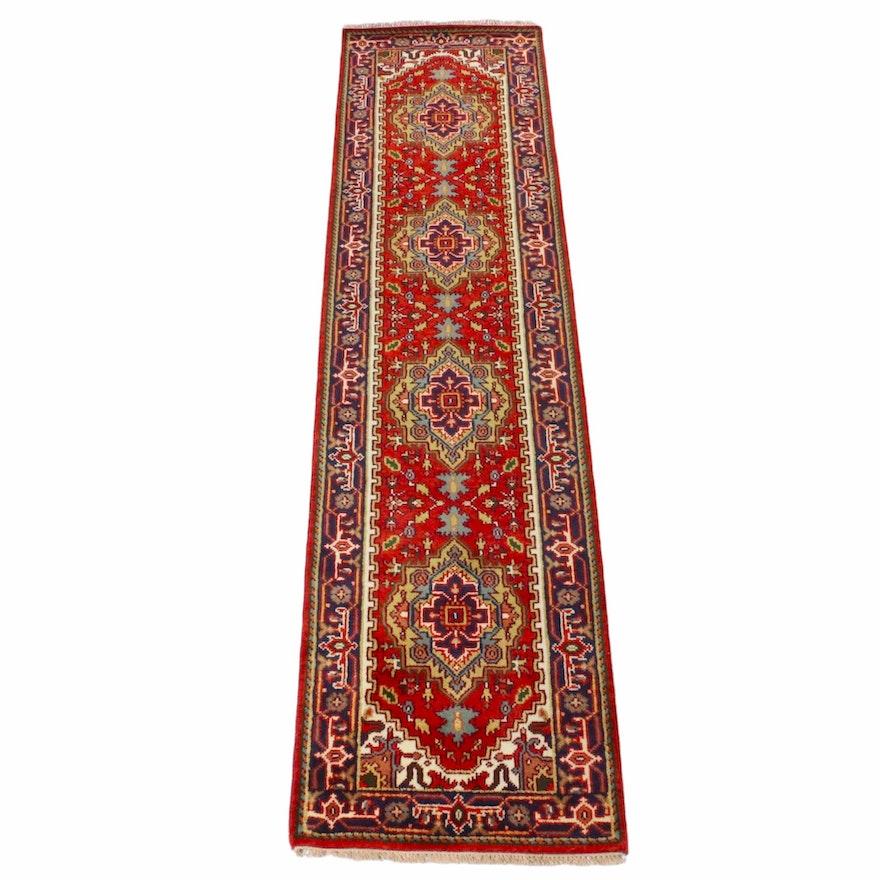 2'6 x 10'2 Hand-Knotted Indo-Persian Heriz Runner