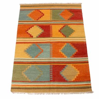 4'2 x 6'1 Hand-Woven Indo-Turkish Kilim Rug