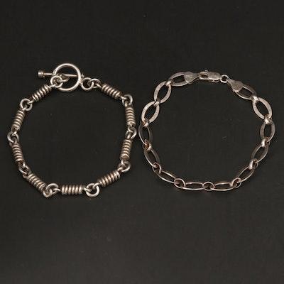 Sterling Sterling Silver Spring and Oval Link Bracelets