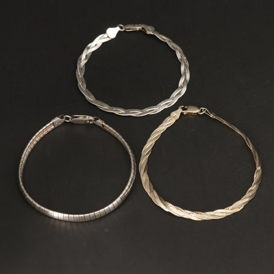 Sterling Silver Braided Herringbone and Omega Link Bracelets
