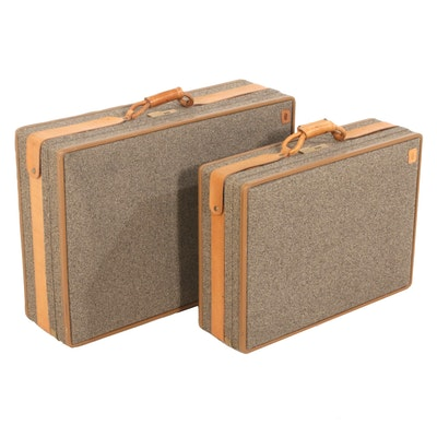 Hartmann Tweed Suitcases with Leather Trim, Vintage