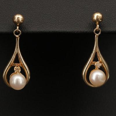 14K Yellow Gold Pearl and Diamond Dangle Earrings