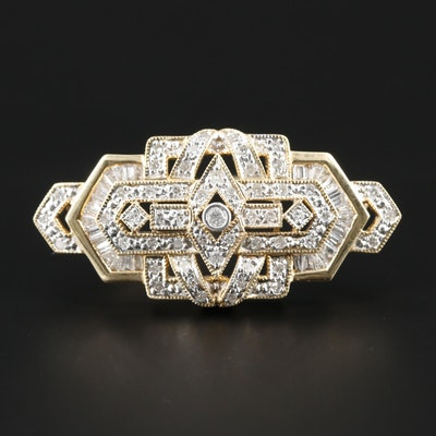 Vintage Style 14K Yellow Gold 1.08 CTW Diamond Brooch