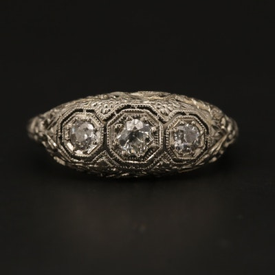 Vintage 18K White Gold Diamond Filigree Ring
