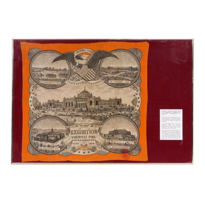 1876 Centennial International Exhibition Wool Souvenir Scarf