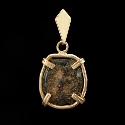 14K Yellow Gold Pendant with Ancient Bronze Coin