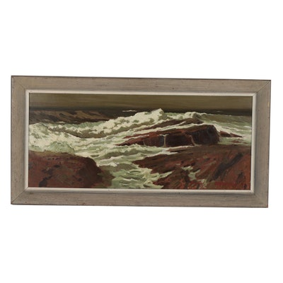 Edmond J. Fitzgerald Seascape Oil Painting, Mid 20th Century