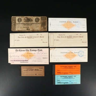 Various U.S. Obsolete Currency Notes, Checks, and Coupon Books