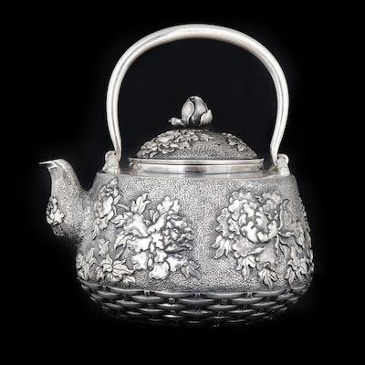 Samurai Shokai Japanese Sterling Silver Repoussé Peony Teapot, Meiji Period