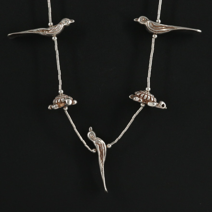 Sterling and 950 Silver Woodland Creatures Fetish Necklace