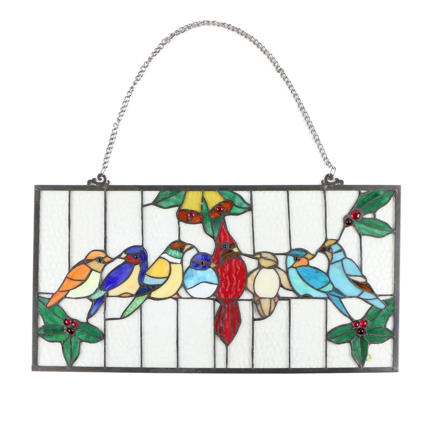 Stained Glass Bird Motif Hanging Panel