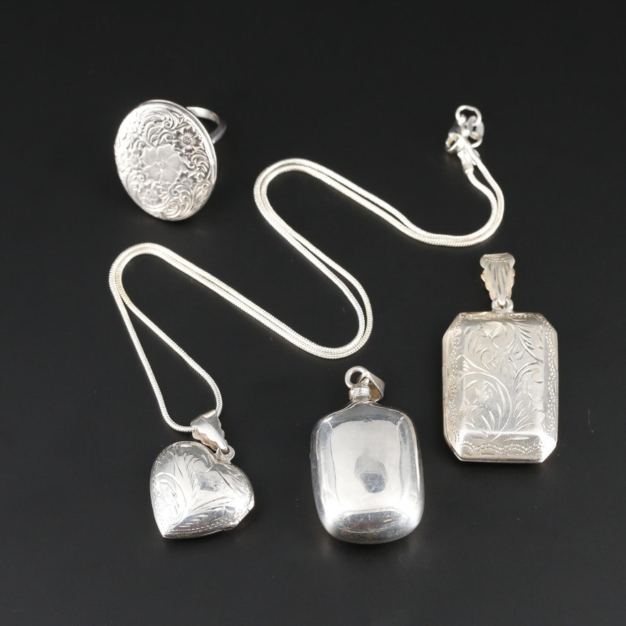 Sterling Locket Ring, Perfume Bottle and Lockets Featuring Michael Anthony