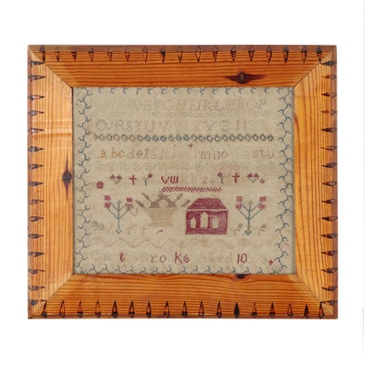 Gerty Brooks American Needlework School Sampler, Mid 19th Century