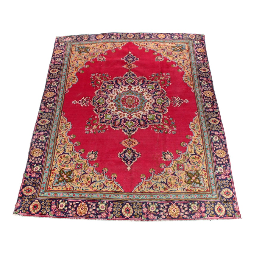 9'1 x 12'0 Hand-Knotted Persian Tabris Room Sized Wool Rug