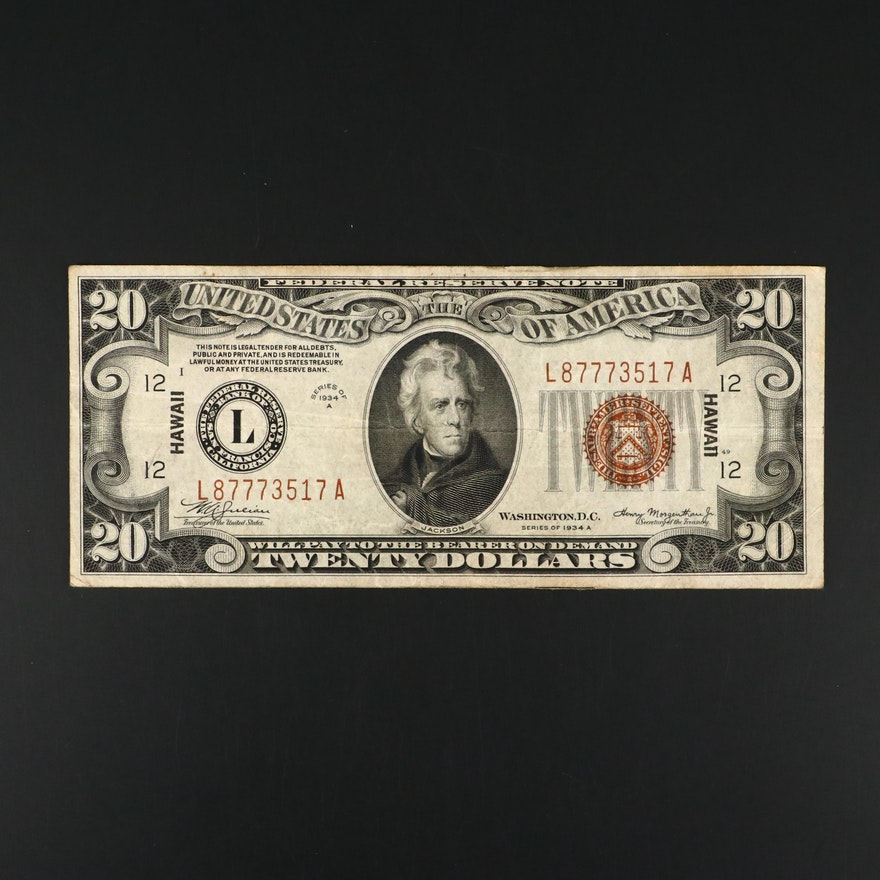 Series of 1934 A Brown Seal Hawaii $20 Federal Reserve Note