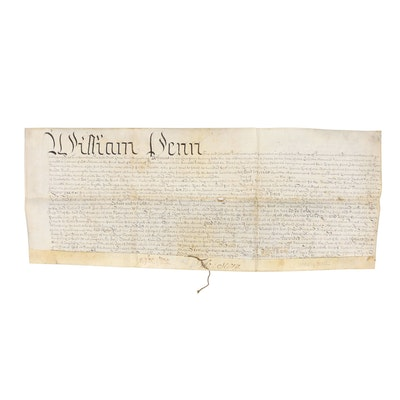 "William Penn Land Grant For ""The Strand"" in New Castle, Delaware, 1708"